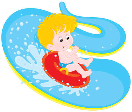 Boy on a water slide in an aquapark
