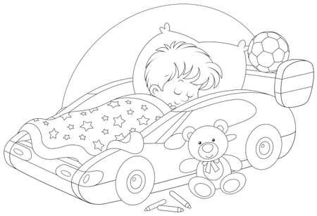 Boy sleeping in a bed - sport car Vectores