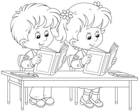 Schoolkinderen lezen bij een les
