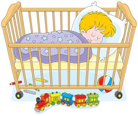 Piccolo ragazzo dorme nel suo letto