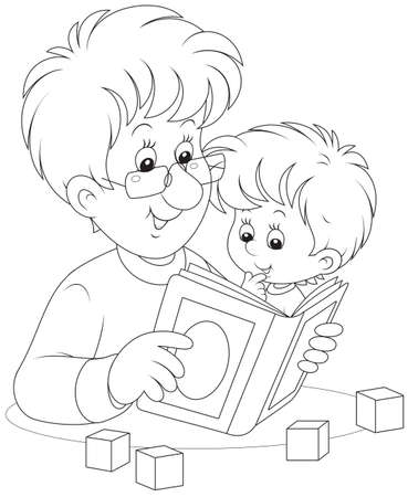 Father reads a book to his little son