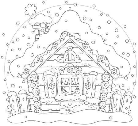 Kleine blokhut in de sneeuw op Kerstmis