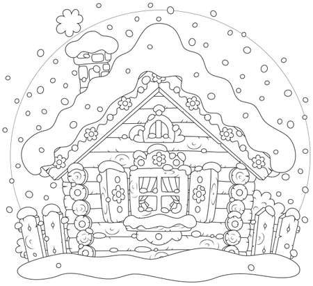 Small log hut in snow on Christmas Stock Vector - 28042604