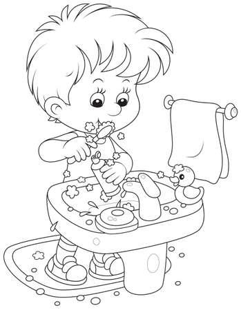 彼の歯を磨くの子供  イラスト・ベクター素材