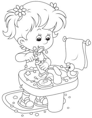 Child brushing teeth Stock Vector - 28417296