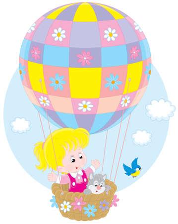Child flying on a balloon Vector Illustration