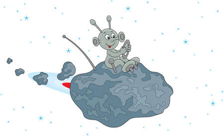 Funny alien flying on a small asteroid in space Ilustração
