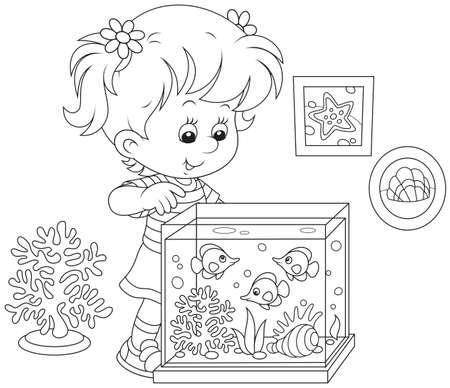 Girl looking at aquarium fishes Vektorové ilustrace