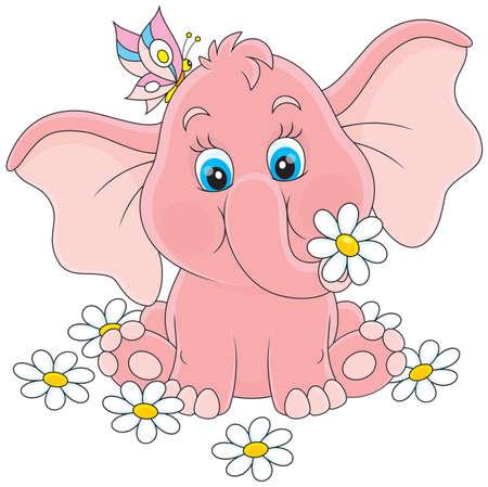 Pink baby elephant sitting among white daisies Illustration
