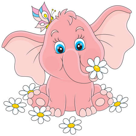 Pink baby elephant sitting among white daisies Illustration