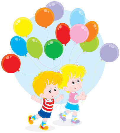 cheery: Little girl and boy walking with colorful balloons