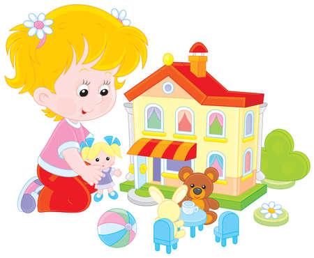 Meisje speelt met een pop en speelgoed huis