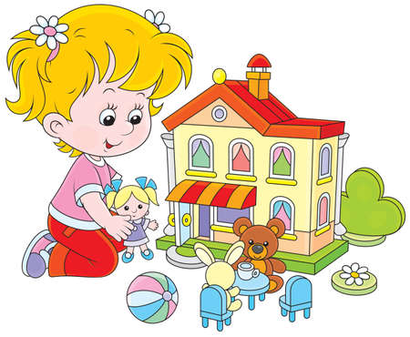 toy house: Little girl playing with a doll and toy house