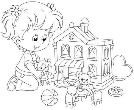 bear doll: Little girl playing with a doll and toy house