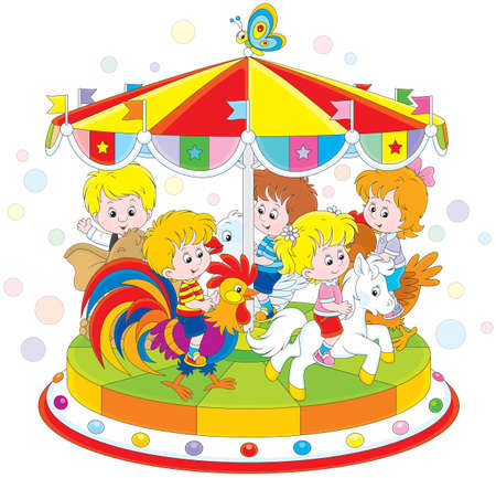 friends having fun: Children riding on a funny carousel