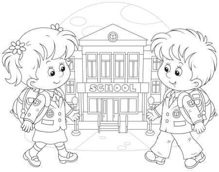 小学生の学校に行く