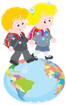 elementary age: Schoolchildren going on a globe