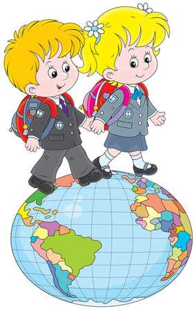ir al colegio: Colegiala y colegial caminando sobre un gran globo Vectores