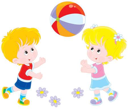 큰 공을 재생하는 어린이 일러스트