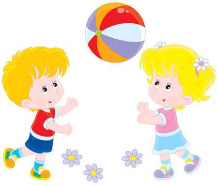 Children playing a big ball Иллюстрация