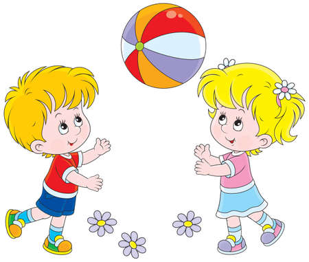 Little girl and boy playing with their colorful ball