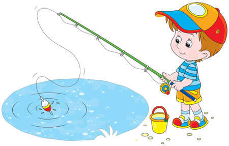Little Boy fishing 向量圖像
