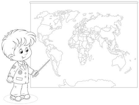 Schoolboy at a World map