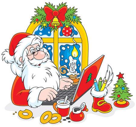 Kerstman het controleren van zijn e-mail