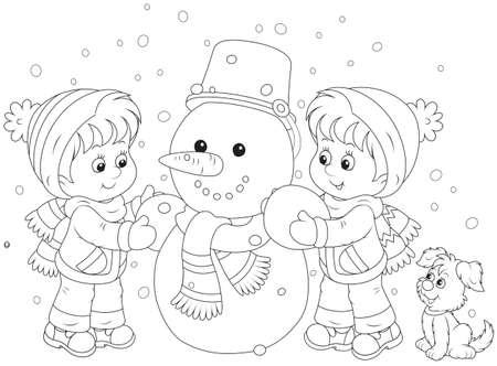 Kinderen maken van een sneeuwpop