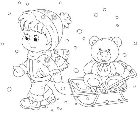 Child walking with a sled  and toy bear