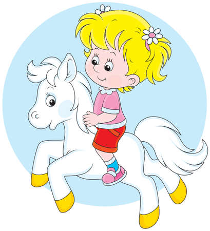 Girl riding a small white pony Illustration