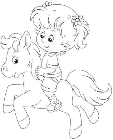 乗馬はポニーの少女