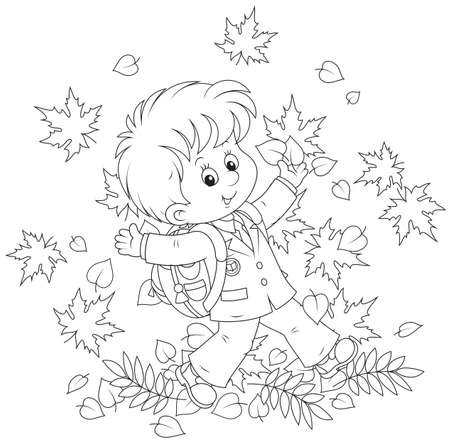 Schoolboy with autumn leaves Illustration