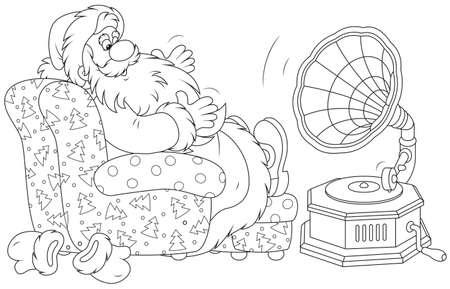 Santa Claus listening to music on his gramophone