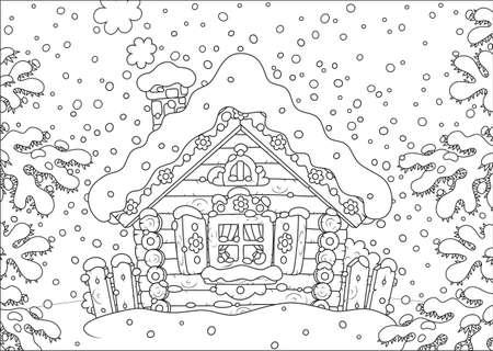 Small log hut in snow on Christmas 일러스트