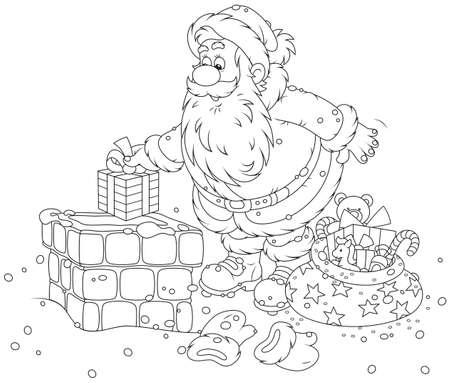 Santa on a housetop Stock Vector - 32556371