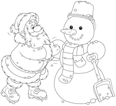 Santa and snowman Stock Vector - 32556388