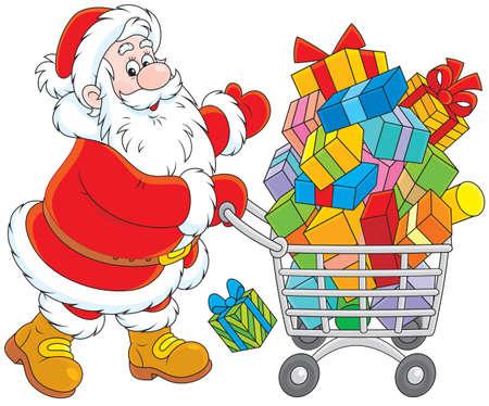 Babbo Natale con un carrello di acquisto di regali di Natale