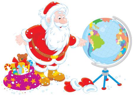 Babbo Natale progettando il suo percorso per la consegna dei regali di Natale Vettoriali