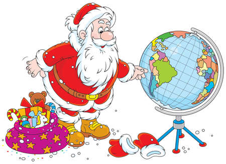 Santa Claus planning his route for delivery of Christmas gifts