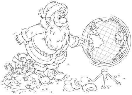 Babbo Natale progettando il suo percorso per la consegna dei regali di Natale