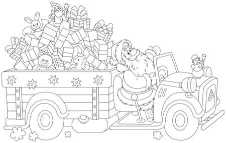 Santa Claus carrying Christmas presents on his truck Ilustrace