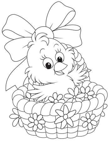 Kuiken van Pasen in een mand met bloemen
