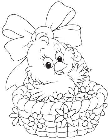 Easter Chick in a basket with flowers Vectores
