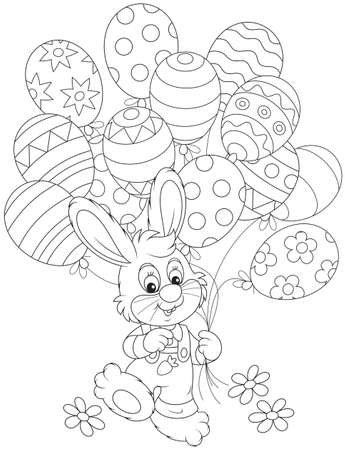 Easter Bunny with balloons Stock Vector - 34738876