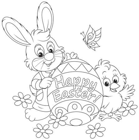 511 Easter Bunny Coloring Page Cliparts Stock Vector And Royalty