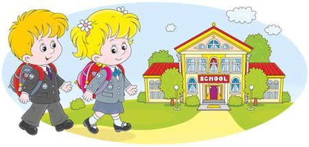 Colière, écolier et leur école Banque d'images - 39466881