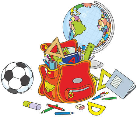 Schoolbag, globe and ball Stock Illustratie