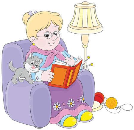 Grootmoeder zat in haar stoel en het lezen van een boek