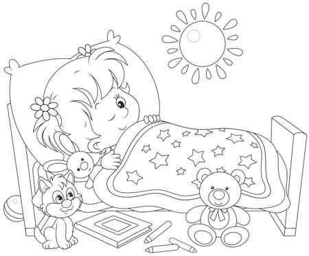 Girl waking up Stock Vector - 40915800